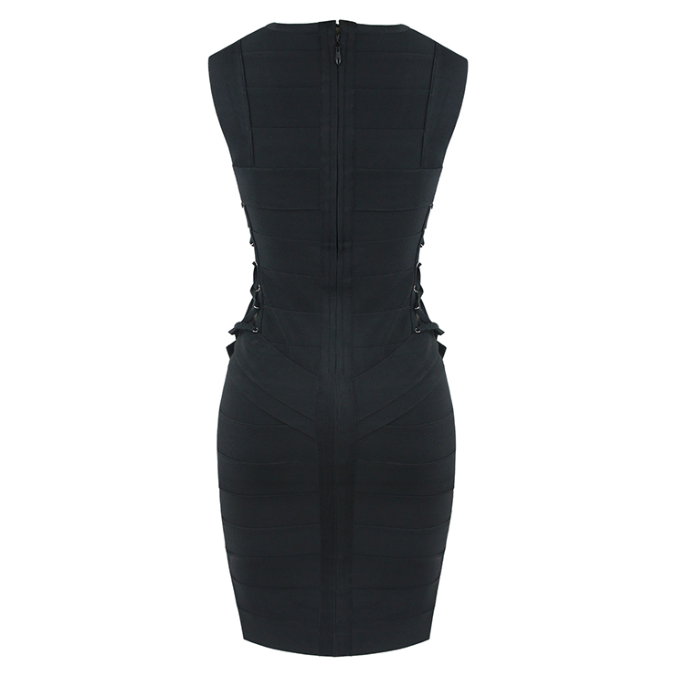 Sleeveless Bodycon Dress, Round Neck Dress, Black Bodycon Dress, Hollow Out Dress, Bodycon Bandage Dress, Crisscross Strappy Dress, Sexy Dresses for Women, #N15633