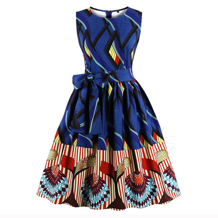 Elegant Vintage Sleeveless Round Neck Printed Midi A-Line Party Dress with Belt N17088
