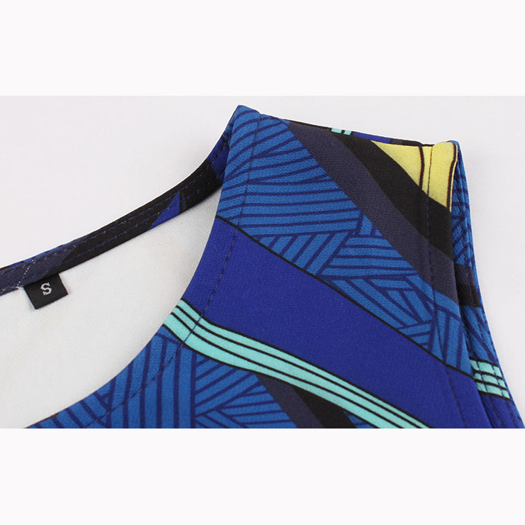 Vintage Sleeveless Round Neck Midi Dress, Retro Printed Swing Dress with Belt, Classical Sleeveless Printed Midi Dress, Women