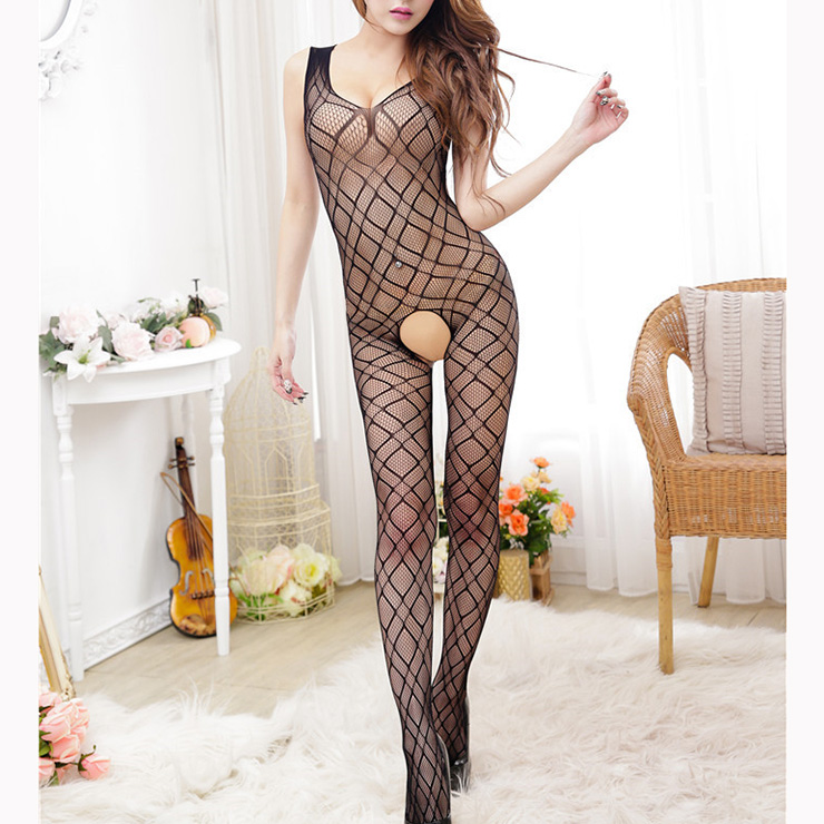 Black Sleeveless See-through Grid Pattern Lingerie Crotchless Bodystocking BS17080