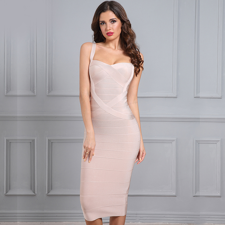 Women's Sleeveless Sweetheart Neck Shoulder Straps Bodycon Bandage Party Dress N15197