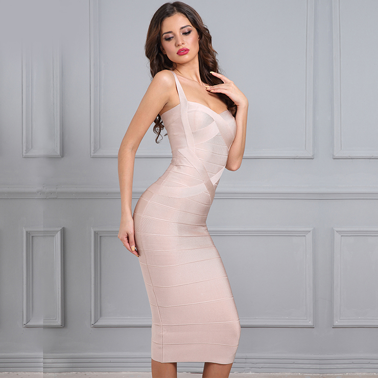 Sleeveless Bandage Dress, Sweetheart Neck Dress, Back Zipper Dress, Midi Bodycon Dress, Shoulder Straps Dress, Bodycon Bandage Dress, Sexy Party Dress for Women, #N15197