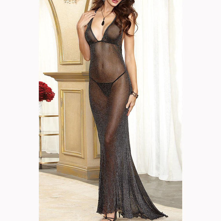 Sexy Black Sleeveless V Neck Backless See-through Lingerie Long Nightgown N17443