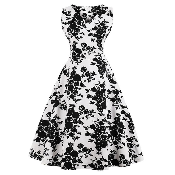 Vintage Black/White Sleeveless V Neck Floral Print Midi Swing Party Dress N16393