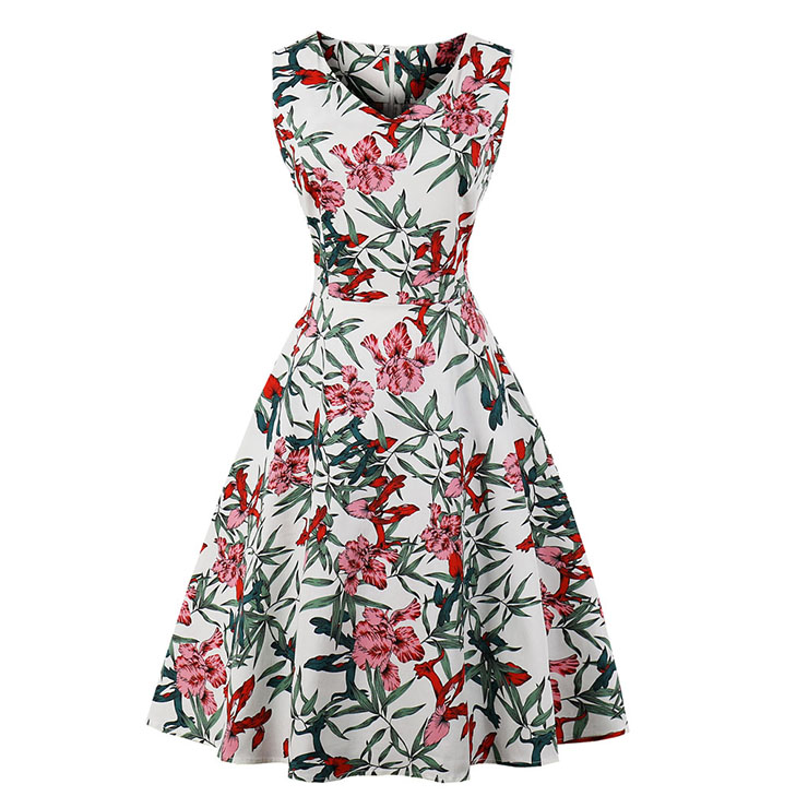 Vintage Sleeveless V Neck Leaves and Flowers Printed Swing Party Dress N16616