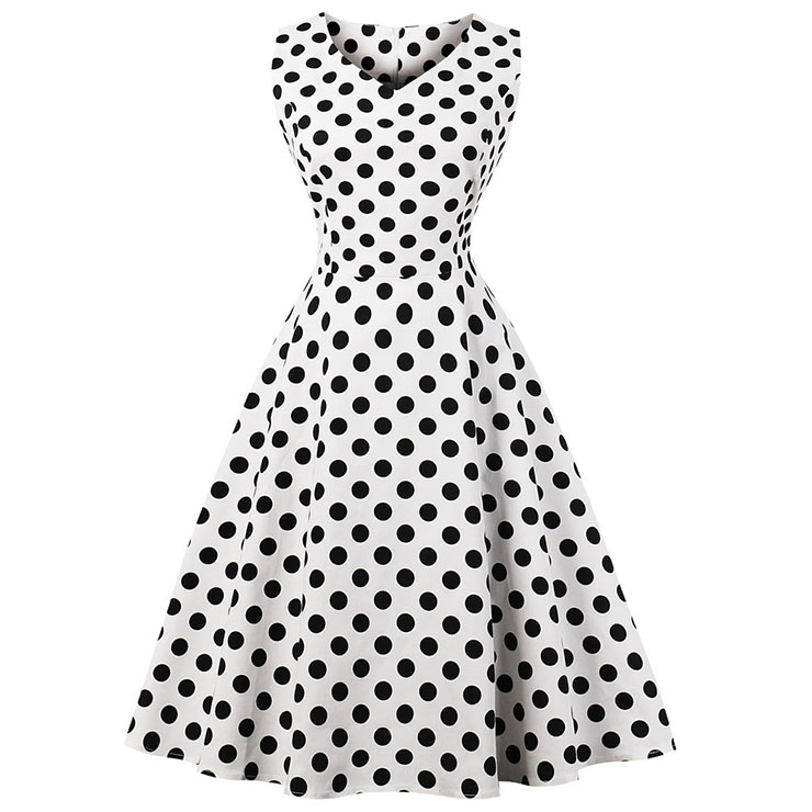 Women's Vintage White Sleeveless V Neck Polka Dot Print Midi Swing Summer Day Dress N16445