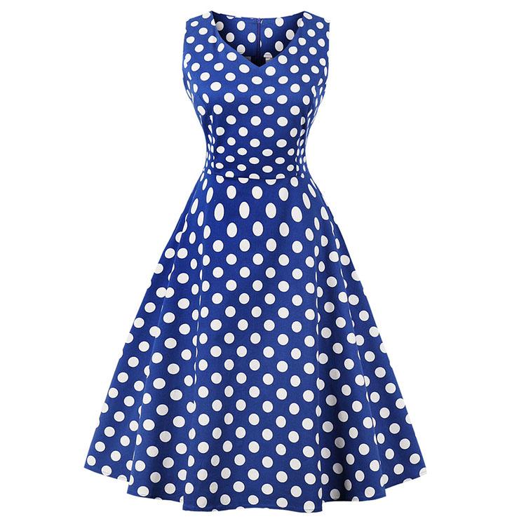 Women's Vintage Blue Sleeveless V Neck Polka Dot Print Midi Swing Summer Day Dress N16446