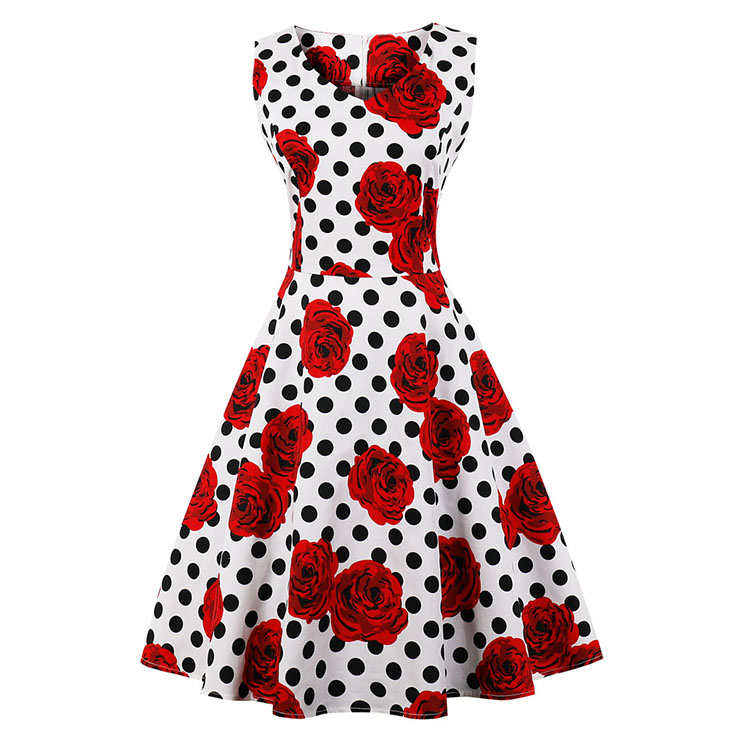 Vintage Sleeveless V Neck Polka Dot Rose Printed Swing Party Dress N16614