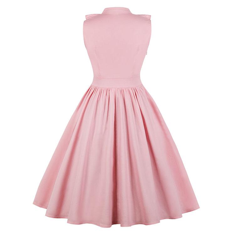 Sleeveless V Neck Midi Summer Dress, Casual Ruffled Falbala Swing Day Dress, Casual Sleeveless Falbala Midi Party Dress, Women