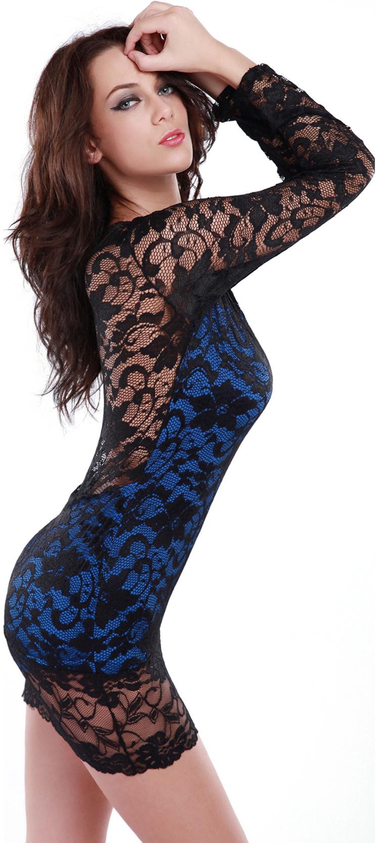 Sexy Mini Dress, Lace Dress, Sleeves Mini Dress, #N4596