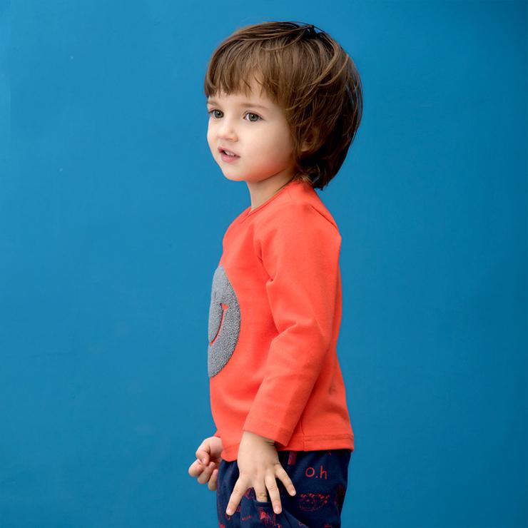 Smiling Face Long Sleeve T-Shirt, Kids Tee Shirt, Lovely T-Shirt, Kids Jersey, #N11969