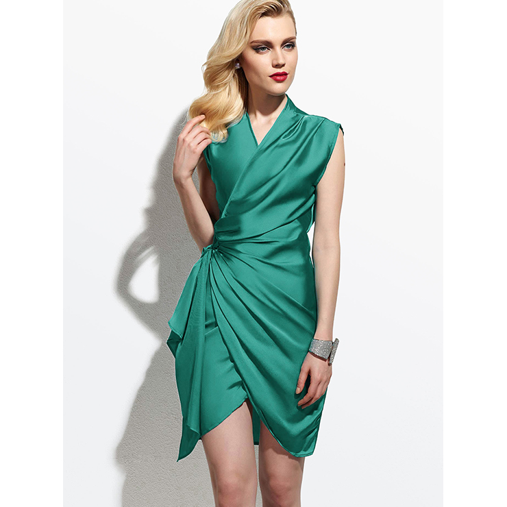 Women's Fashion Solid Color V Neck Sleeveless Ruffled Asymmetric Bodycon Dress N14538