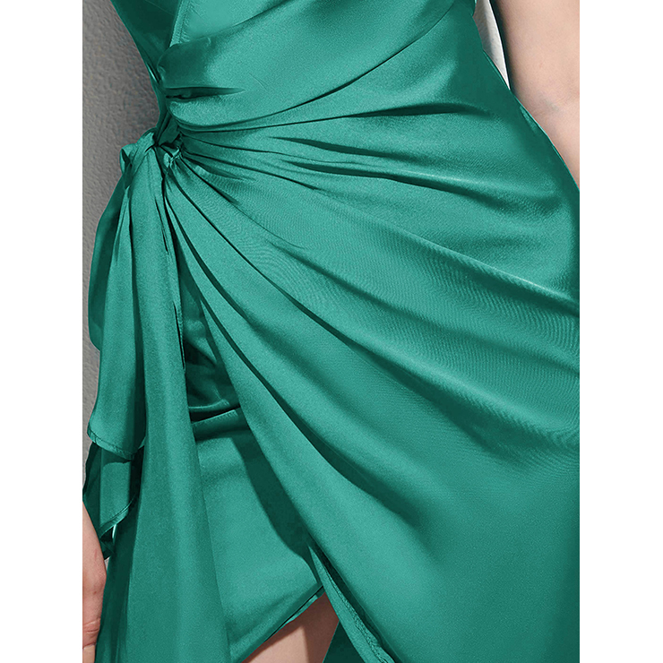 Summer Bodycon Dresses for Women, Green Bodycon Dress, Casual Party Dress, Casual Dress for Women, Fashion Dress for Women, Solid Color Dress, Asymmetric Dress, #N14538