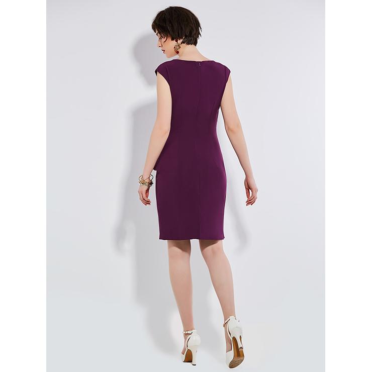 Summer Bodycon Dresses for Women, Purple Bodycon Dress, Casual Party Dress, Casual Dress for Women, Fashion Dress for Women, Solid Color Dress, Office Lady Bodycon Dress, #N14539