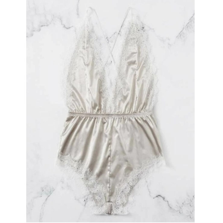 Sexy White Satin Spaghetti Straps Back Cross Low-cut Lace Trim Bodysuit Teddy Lingerie N20746