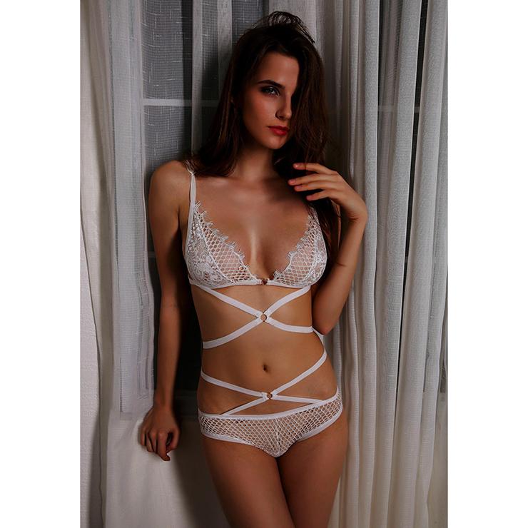 Sexy White Spaghetti Strap Lace Hollow Out Bra Top and Panty Bikini Lingerie Set N16429