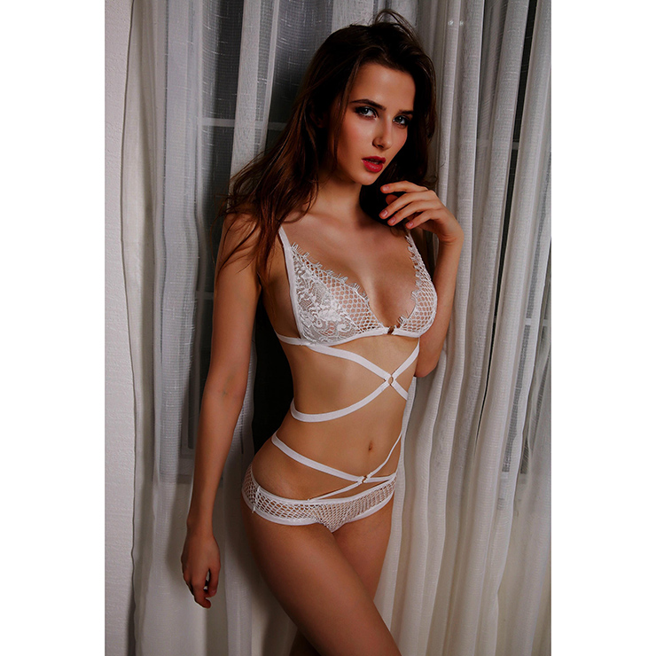 Lace Bikini Lingerie Set, Sexy White Lingerie Set, Cheap Fashion Lingerie Set, Valentine