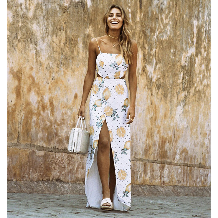 Fashion Casual Spaghetti Strap Lemon Printed High Slit Maxi Dress N17997