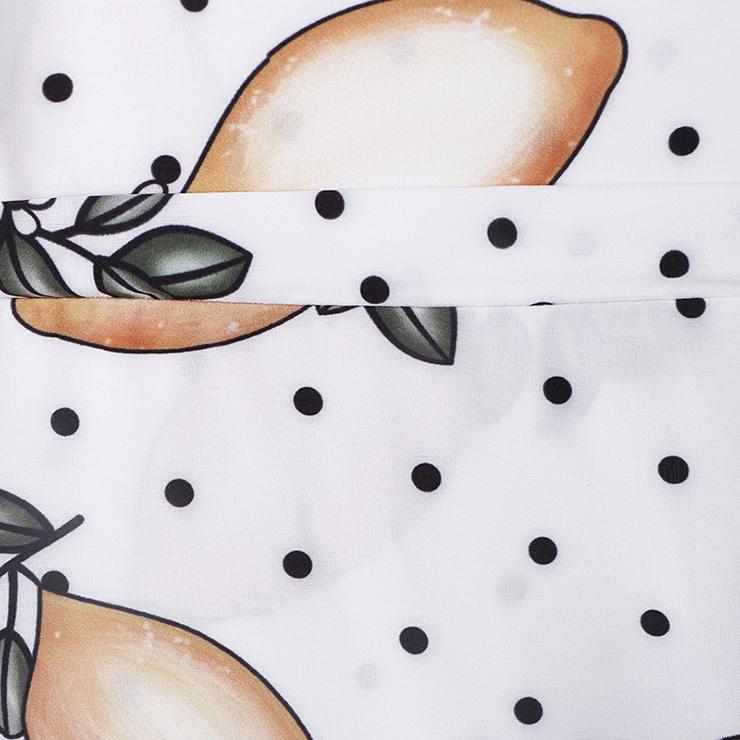 Spaghetti Strap Maxi Dress, Fashion Lemon Printed Beach Dress, Casual Holiday Printed Maxi Dress, Women