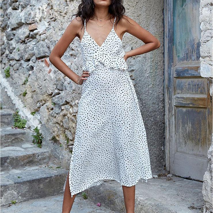 Fashion Casual Spaghetti Strap V Neck Dot Printed Ruffled High Slit Dress N16667