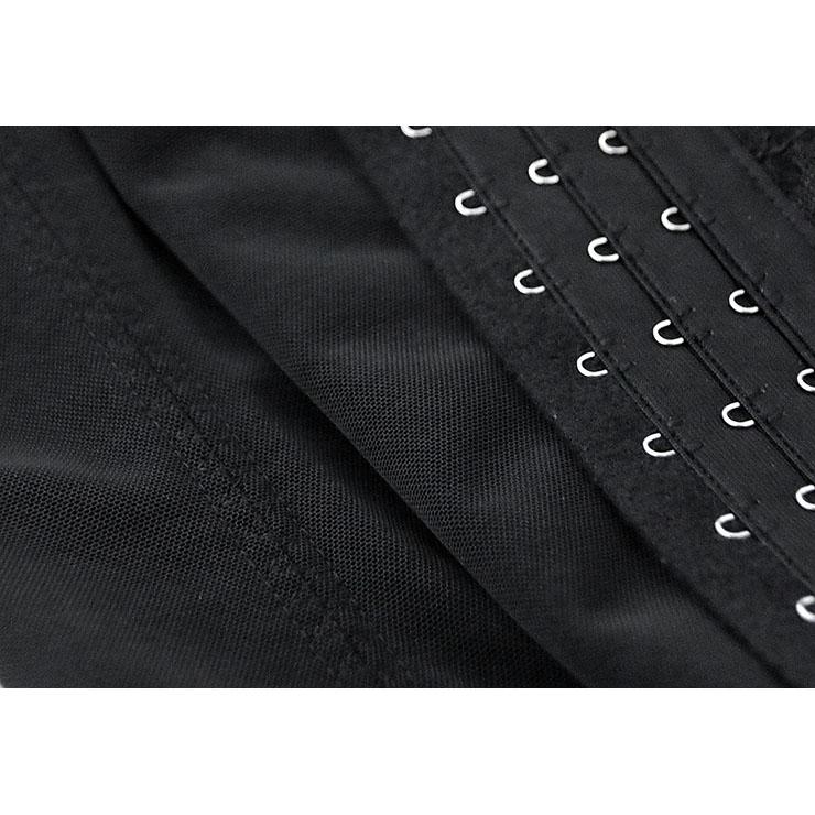 Black Waist Cincher Body Shaper Corset, Lace Decorated Waist Training Corset, Spiral Steel Boned Underbust Corset, #N9160