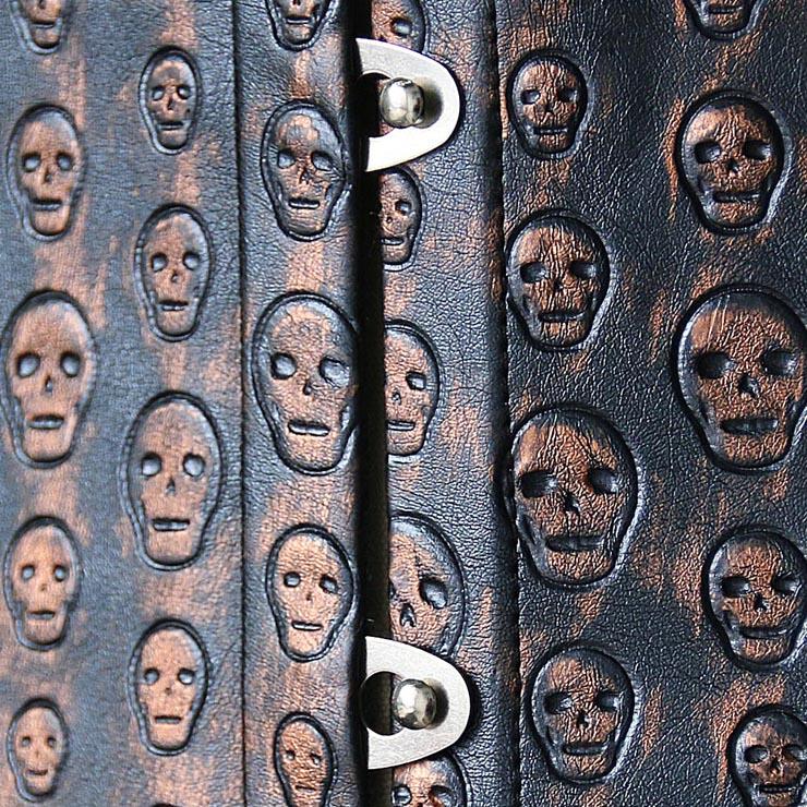 Stamped Leather Underbust Corset, skulls stamped underbust corset, Vegan leather skulls Corset, #N4509