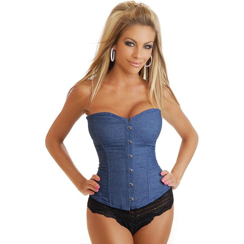 sexy Corset, Stapless denim corset, corset, #N2892