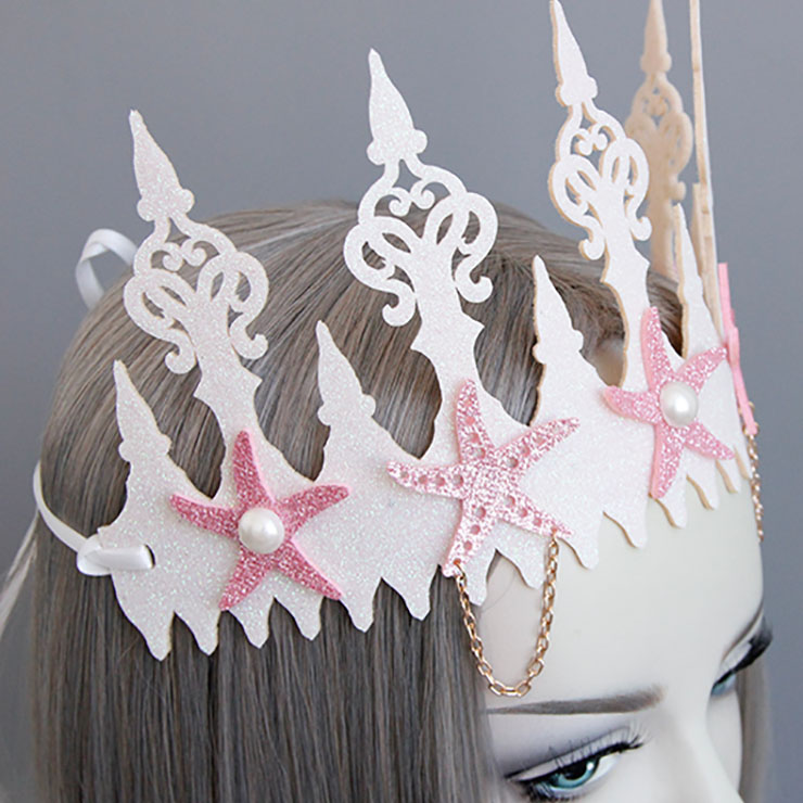 Lovely Starfish Headband, Pearl Crown Headband, Wedding Headwear for Women, Lovely Starfish Pearl Crown Headwear, Beautiful Pink Beach Headband, #MS17566