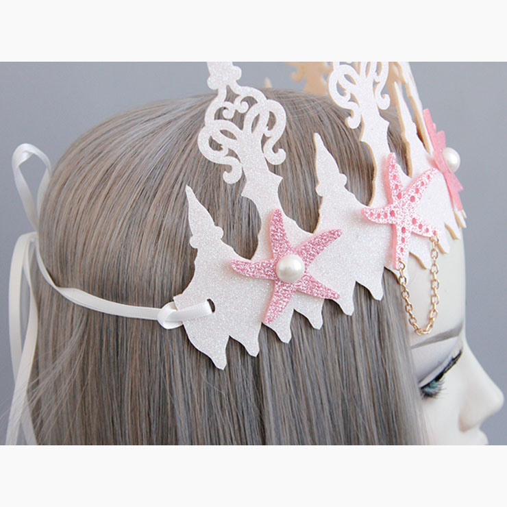 Lovely Starfish Headband, Pearl Crown Headband, Wedding Headwear for Women, Lovely Starfish Pearl Crown Headwear, Beautiful Pink Beach Headband, #MS17566