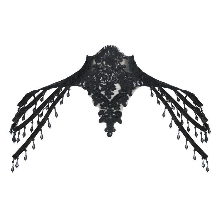 Victorian Gothic Black Lace High Neck Shoulder Chain Cape Corset Shrug N20218