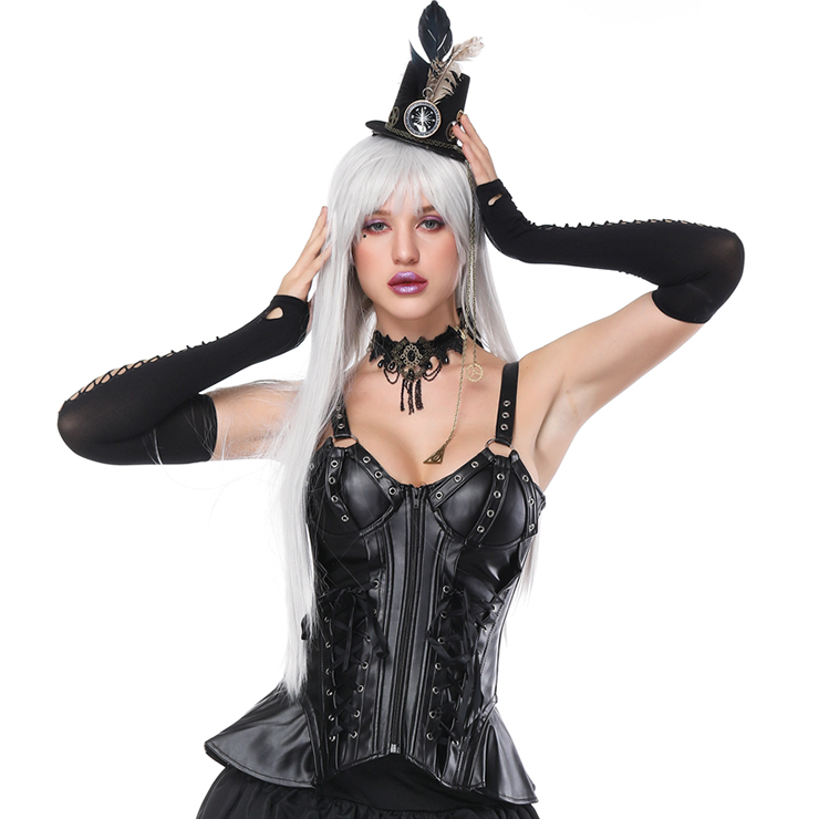 Women's Steampunk Gothic Black 10 Plastic Boned Leather Strappy Outerwear Corset N16230