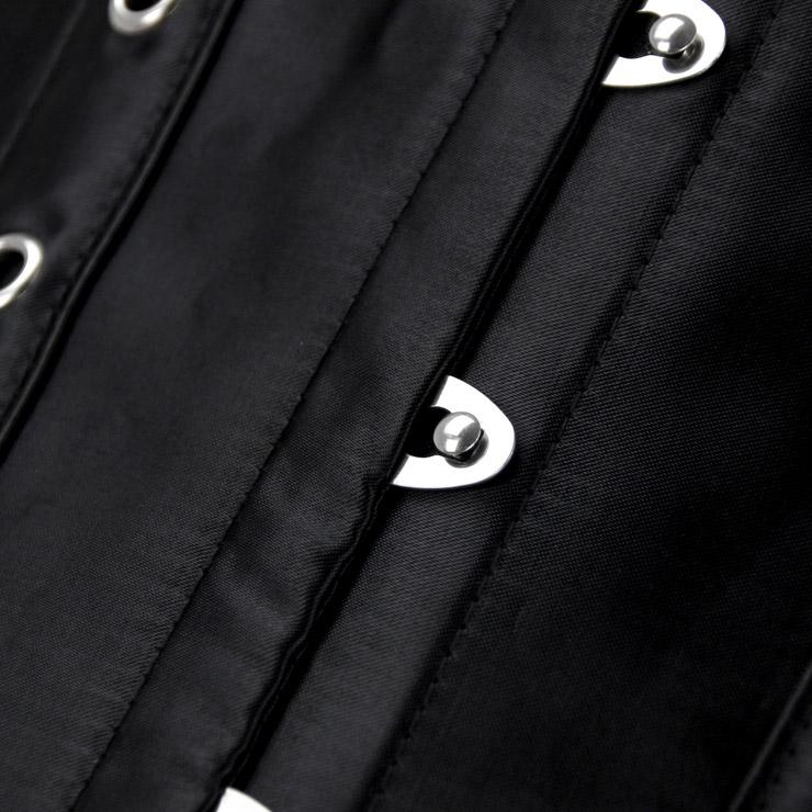 Steampunk Corset for Women, Black Satin Strap Corset, Black Punk Overbust Corset, Gothic Retro Overbust Corset for Women, #N16213