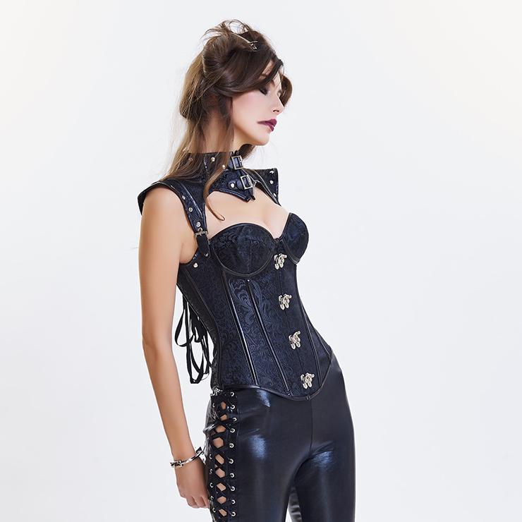 Heavy Steel Boned Corset, Cheap Outerwear Corset, Halloween Warrior Corset, Faux Leather Corset, Plus Size Corset, Punk Leather Corset, #N14711