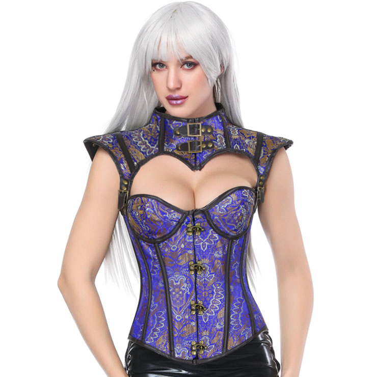 Steampunk Blue Plastic Boned Faux Leather Jacquard Overbust Corset with Decorative Cap Sleeve Shrug N17328