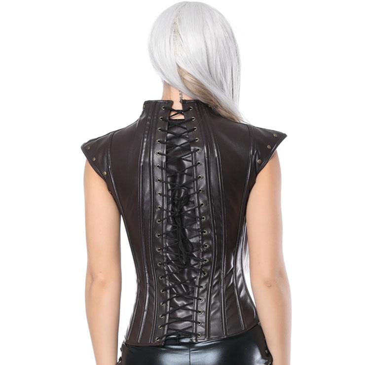 Heavy Plastic Boned Corset, Cheap Outerwear Corset, Halloween Warrior Corset, Faux Leather Corset, Faux Leather Jacquard Overbust Corset, Punk Leather Corset with Shrug, #N17328