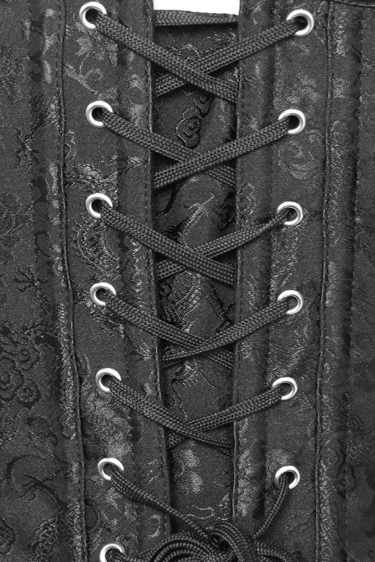 Streampunk Brocade Corset, Black Brocade Steampunk Corset, Brocade Steampunk Corset, #N5438