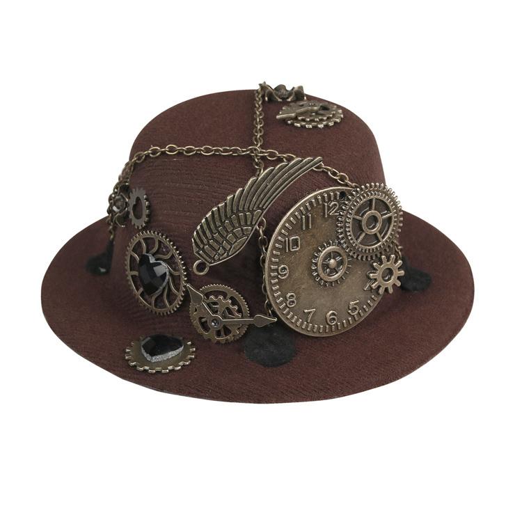 Steampunk Bronze Metallic Gear and Chain Masquerade Costume Bowler-hat Hair Clip J19524
