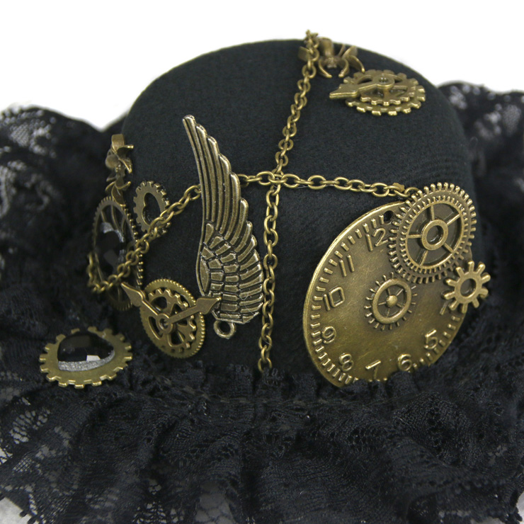 Vintage Cosplay Costume Hat, Retro Fancy Ball Bowler Hat, Vintage Industrial Style Bronze Metal Vampire Costume Hat, Fashion Party Costume Hat Accessory, Fancy Victorian Style Top Hat, Gothic Style Costume Hat, #J19525