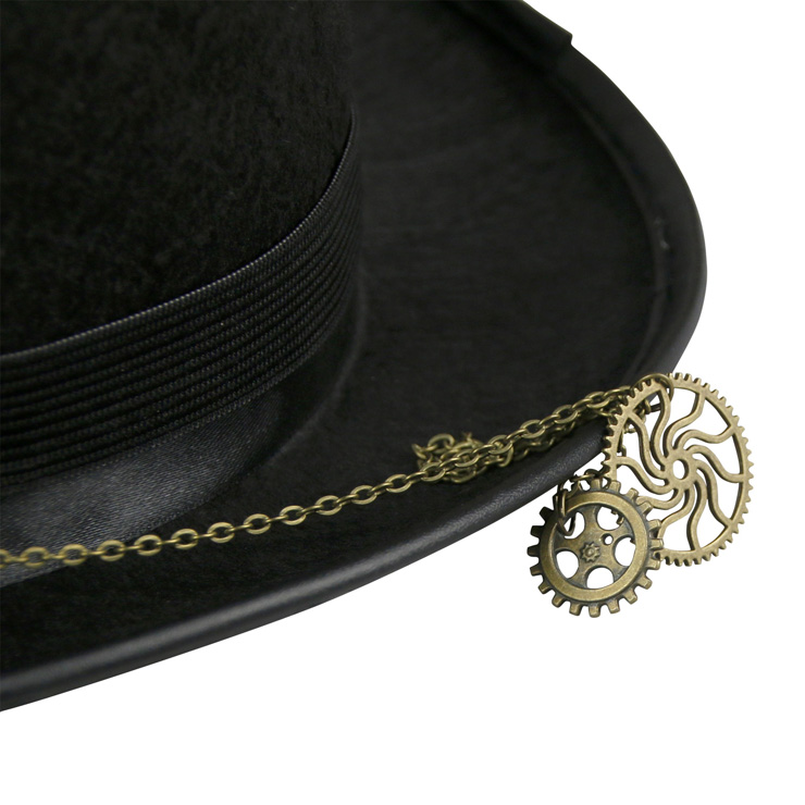 Vintage Cosplay Costume Hat, Retro Fancy Ball Top Hat, Vintage Industrial Style Bronze Metal Vampire Costume Hat, Fashion Party Costume Hat Accessory, Fancy Victorian Style Top Hat, Gothic Style Costume Hat, #J19511