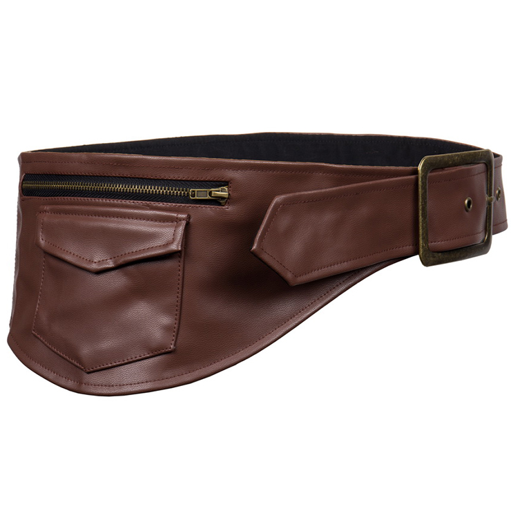 Steampunk Brown Faux Leather Corset Pouch Belt N12407