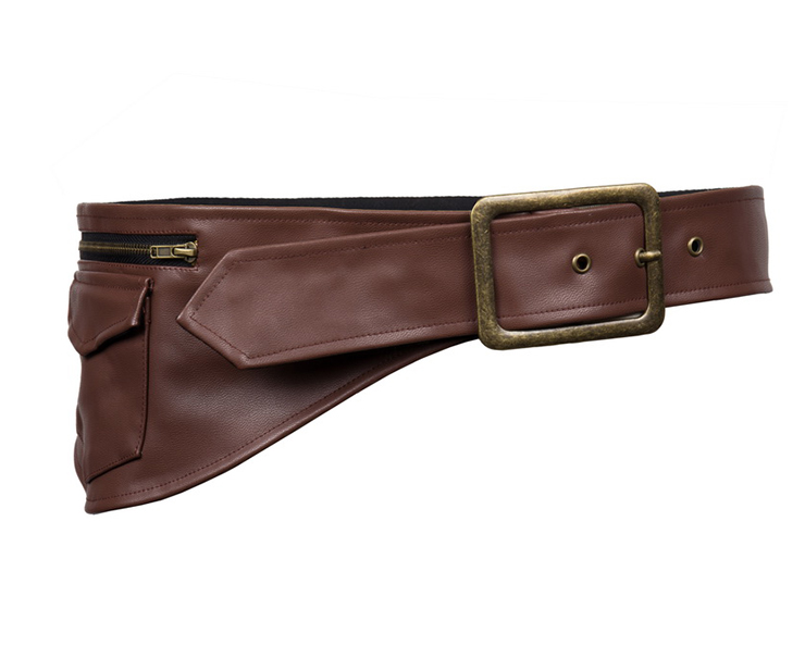 steunk brown faux leather corset pouch belt n12407