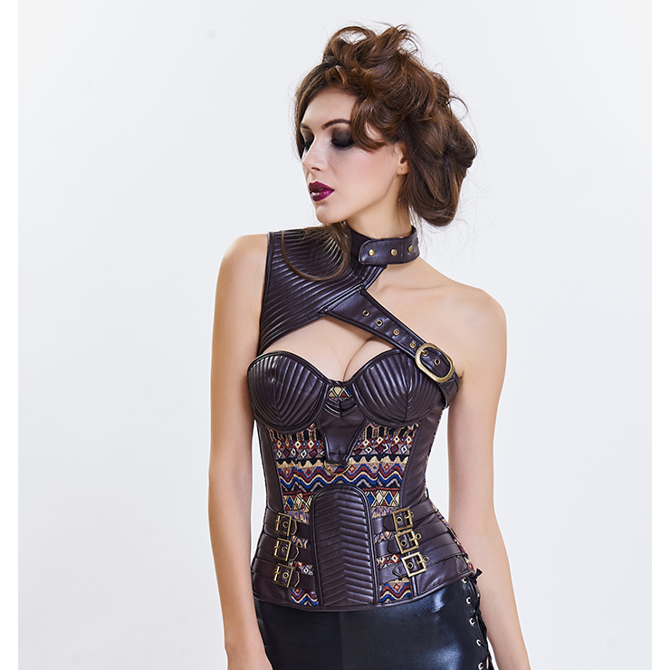 22bcde4055 Women s Steampunk Brown Steel Boned One-shoulder Leather Spiral Stripe  Shape Overbust Corset N16189