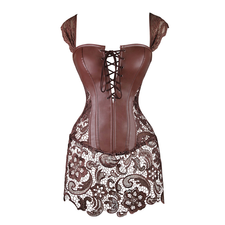 Steampunk Coffee-Brown Faux Leather Long Lace Embellished Corset with Lace Skirt N11023