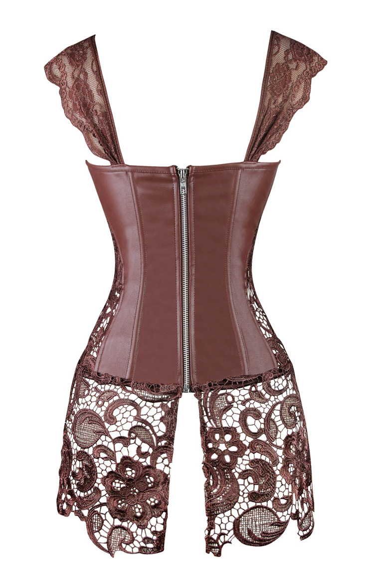 fdddcc8e4 Steampunk Coffee-Brown Faux Leather Long Lace Embellished Corset with Lace  Skirt N11023