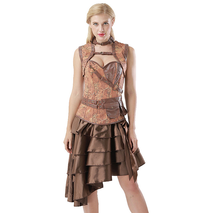 Steampunk Brown Corset with Sleeveless Jacket and Vintage Satin High-low   Ruffles Skirt Sets N14442