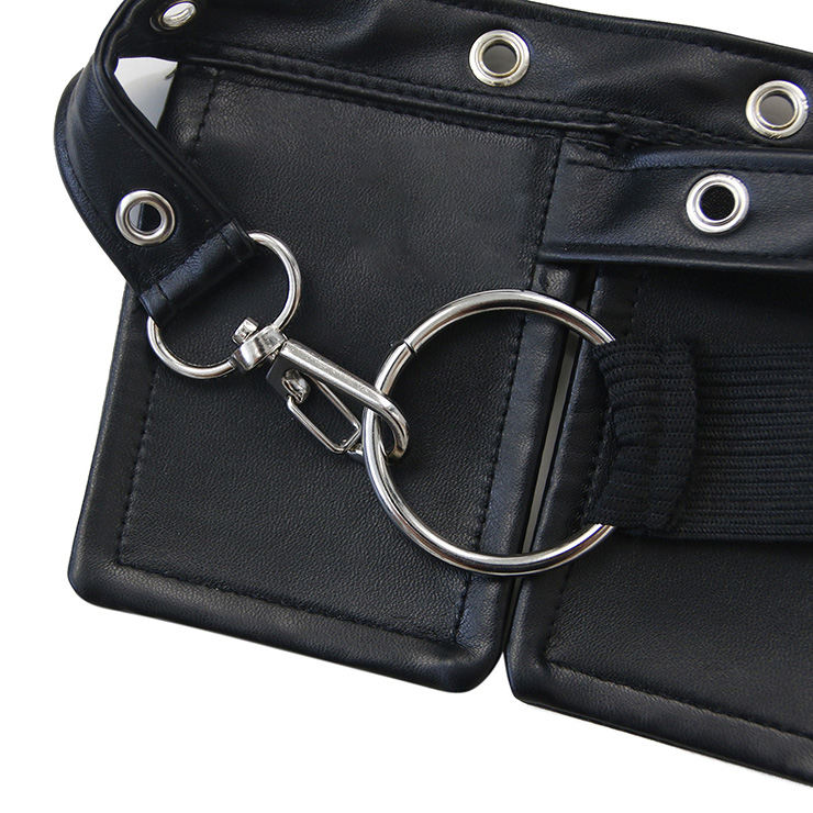 Faux Leather Wasit Belt, Punk Style Corset Cinch Belt, Steampunk Wasit Belt for Women, Waist Cincher Belt Black, Elastic Pocket Corset Waist Belt, #N17912
