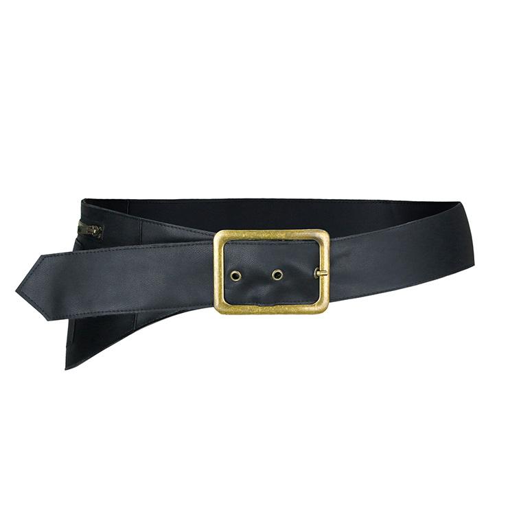 Steampunk Black Faux Leather Bronze Metal Buckle Waist Pack Pocket Corset Waist Belt N19011