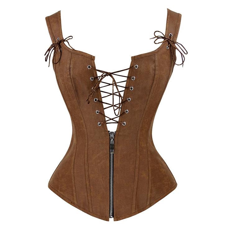Steampunk Faux Lace Up Vest Corset N11565