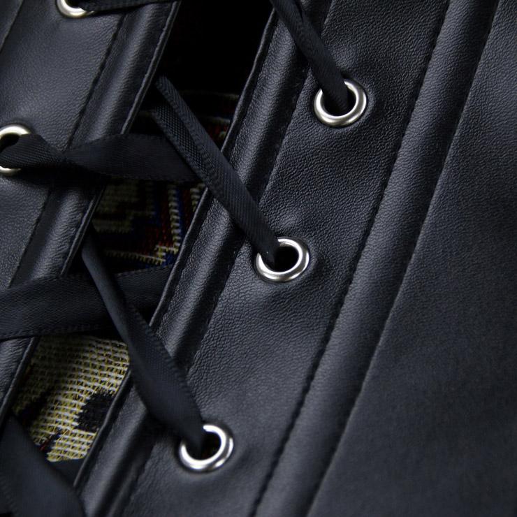 Heavy Steel Boned Corset, Cheap Outerwear Corset, Halloween Warrior Corset, Jacquard Leather Corset, Steampunk Overbust Corset, Punk Jacquard Corset, #N15818
