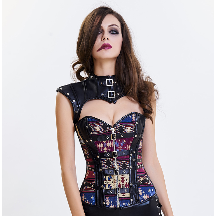 Women's Steampunk Floral Plastic Boned Jacquard Overbust Corset with Cap Sleeve Shrug N15818